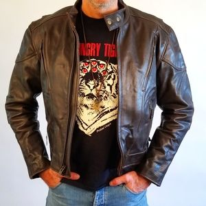 Cruiser Brown Leather Motorcycle Jacket Padded